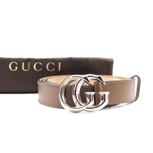 Gucci Marmont Beveled Silver Buckle Belt